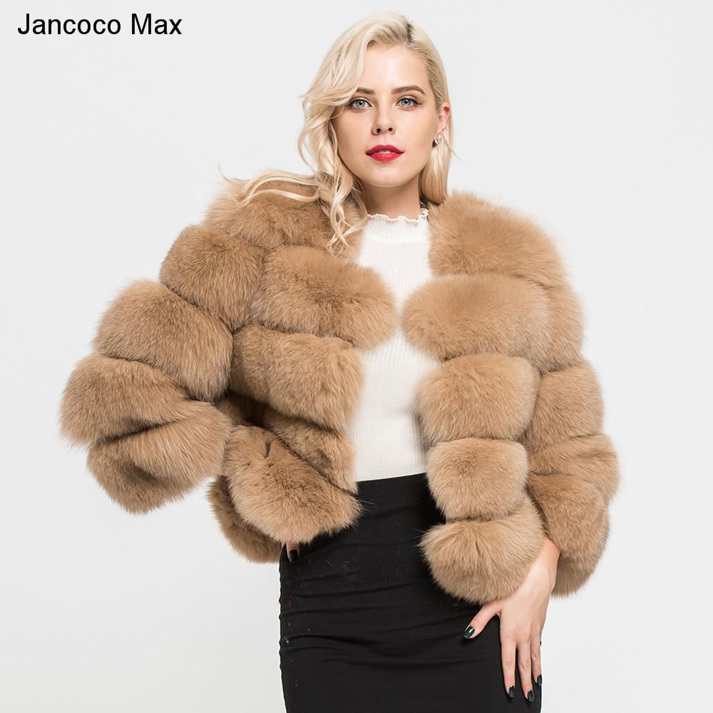 68146cd476fa7 Compre Jancoco Max 2018 Abrigos De Mujer De Piel De Zorro Natural Real 5  Filas Abrigo De Alta Calidad Outwear Invierno Grueso Caliente Moda Crop  Chaqueta ...
