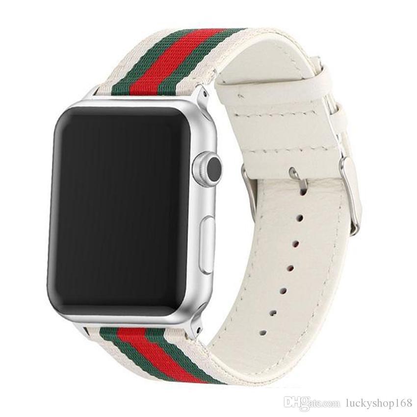 5554950ce24 Compre Bandas De Reloj De Cuero De Nylon Para Apple Watch Band 42 Mm 38 Mm  Iwatch 1 2 3 Bandas Correa De Cuero Pulsera Deportiva Nuevas Rayas De Moda  A ...