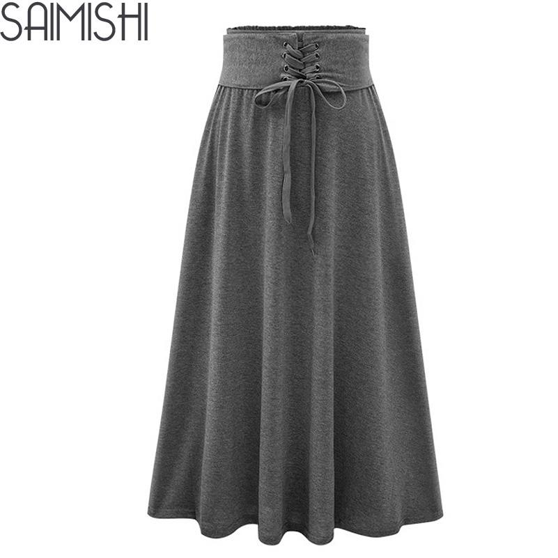 6b513d804 Primavera otoño 2017 moda mujer larga falda corsé suelto de alta calidad de  cintura alta elegante con cordones mujeres sólidas falda plisada