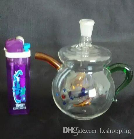 Teiera al narghilè in vetro colorato, Bruciatore a olio unico Tubi di vetro Tubi dell'acqua Tubi di olio di vetro Fumo con Droppe GGFDFT