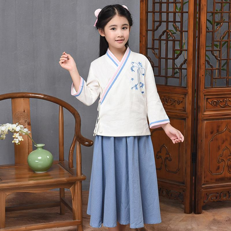 Chinese Style Dance Zither Performance Dress Baby Girls Fairy Costume Suit Ancient Han Fu Clothing Children Cosplay Clothes