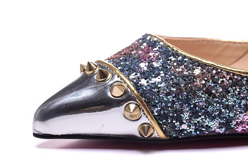 34-42 femmes 10cm 12cm hauts talons violet paillettes en cuir avec des pointes d'or orteils pompes en deux pièces, dames sexy robe chaussures / logo / boîte