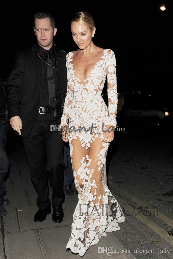 Sexy Michael Costello Celebrity Evening Dresses Deep V Neck Long Sleeves Appliques Tulle See Through Illusion Nude White Prom Dresses