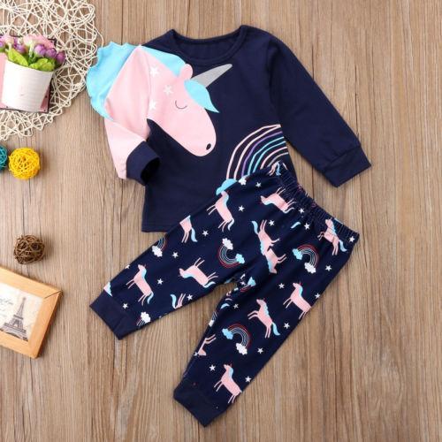 Hot Bonito Crianças Roupas de Menina Do Bebê Conjuntos Unicórnio Floral T-Shirt Tops Calças Pijama Homewear Pijamas Crianças Roupas Outfits
