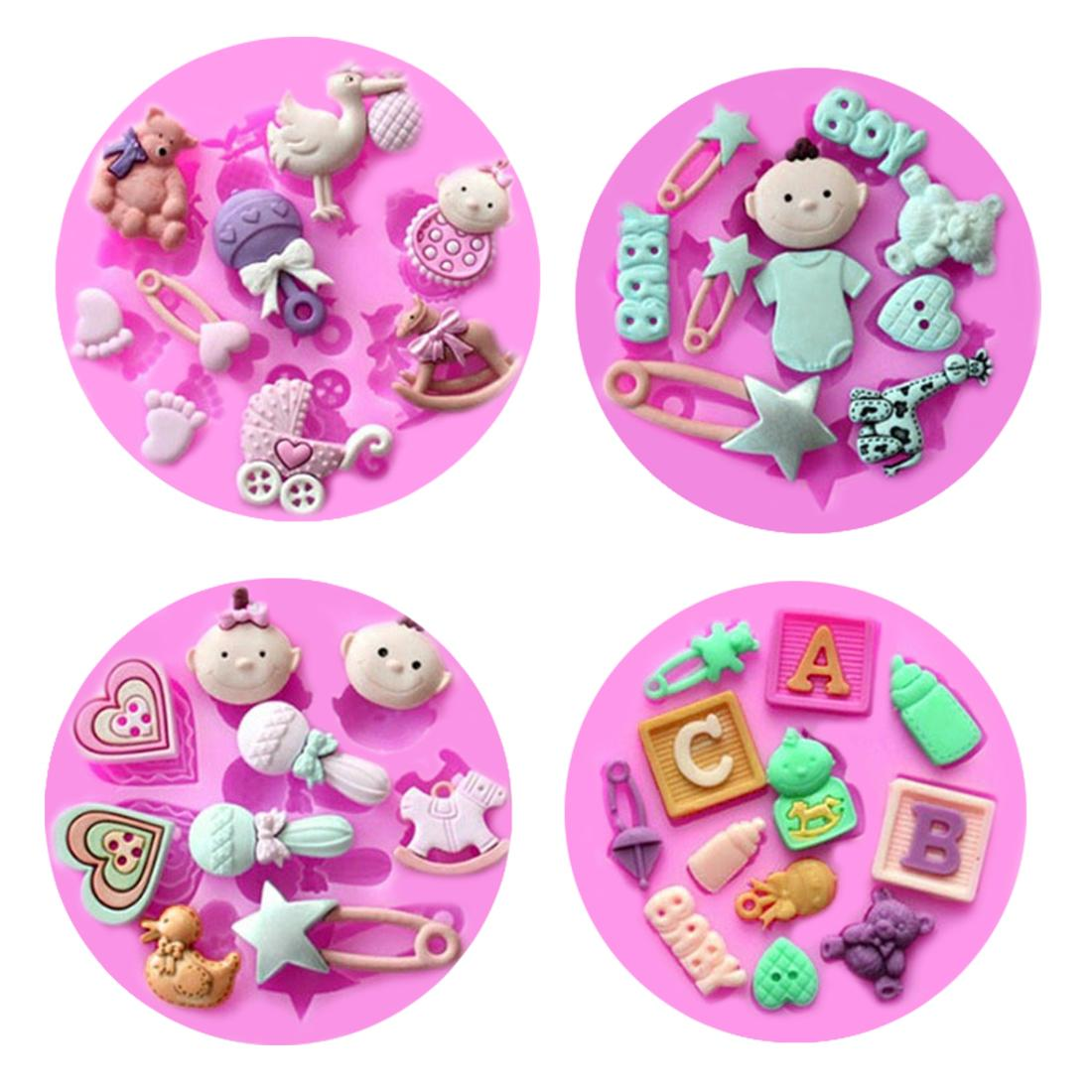 Pastry Tools 1PC Silicone Mold Baby Theme Baby Carriage Fondant Chocolate Soap Mold Cake Stencils Bread Mould Kitchen Baking Pan