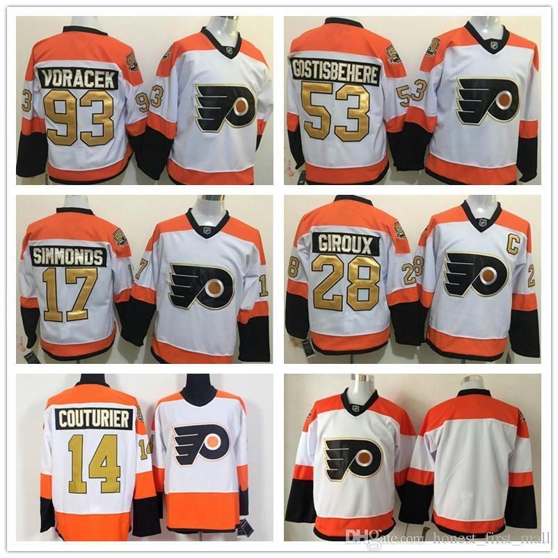 Stitched Men Philadelphia Flyers 53 Shayne Gostisbehere 50th Anniversary  Hockey Jerseys 93 Jakub Voracek 28 Giroux 17 Simmonds 14 Couturier UK 2019  From ... cdfa2caef