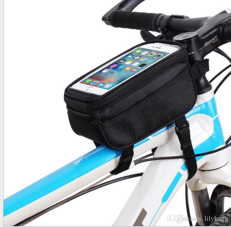 5.7 pulgadas ciclismo Bike Bike Bag Panniers Frame Front Tube Bag para teléfono celular MTB Bike a prueba de agua pantalla táctil bolsas de teléfono
