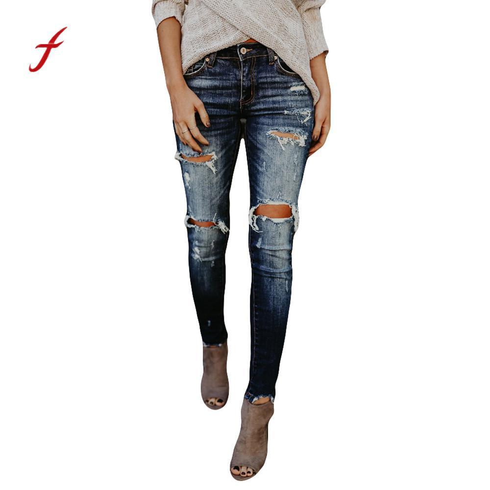 7f6112f747ff Acquista 2018 Nuovi Jeans Strappati Donna Hight Waisted Skinny Hole Denim  Jeans Stretch Slim Pants Lunghezza Polpaccio Vita Alta Più Taglie A $42.57  Dal ...