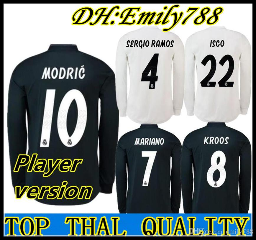 3ce923d4e 2019 Player Version Real Madrid Long Full Sleeve Home Soccer Jersey 18 19  Real Madrid Soccer Shirt 11 BALE 22 ISCO 7 MARIANO Football Uniforms From  Emily788 ...