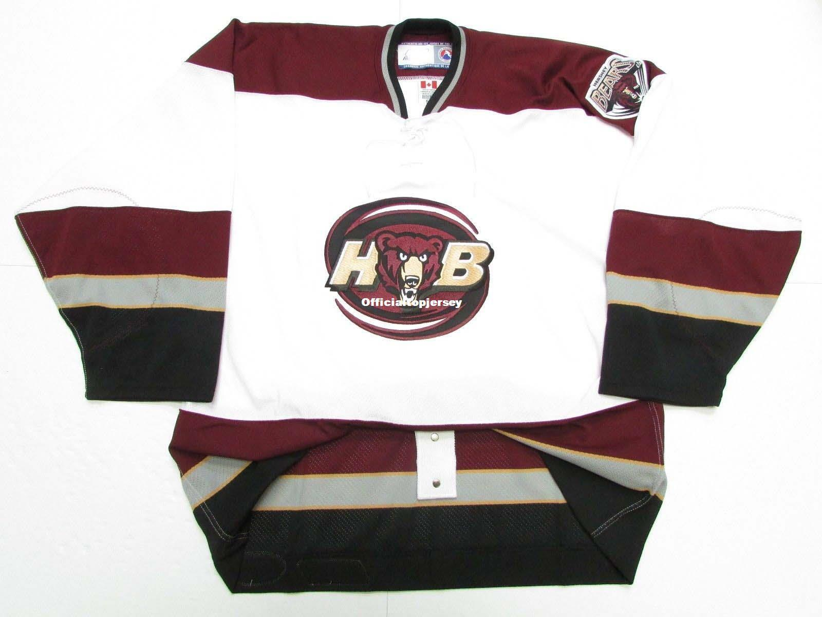 promo code 03a95 90f98 Cheap Custom HERSHEY BEARS CHL AHL WHITE PRO HOCKEY JERSEY Mens Stitched  Personalized Any number Any name Jerseys