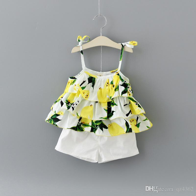 3cd38b941bfe26 2019 Baby Girls Ruffle Lemon Print Braces Top Set With Pants 2017 Summer  Kids Boutique Clothing Little Girls Short Braces Dresses Set From Qz4362