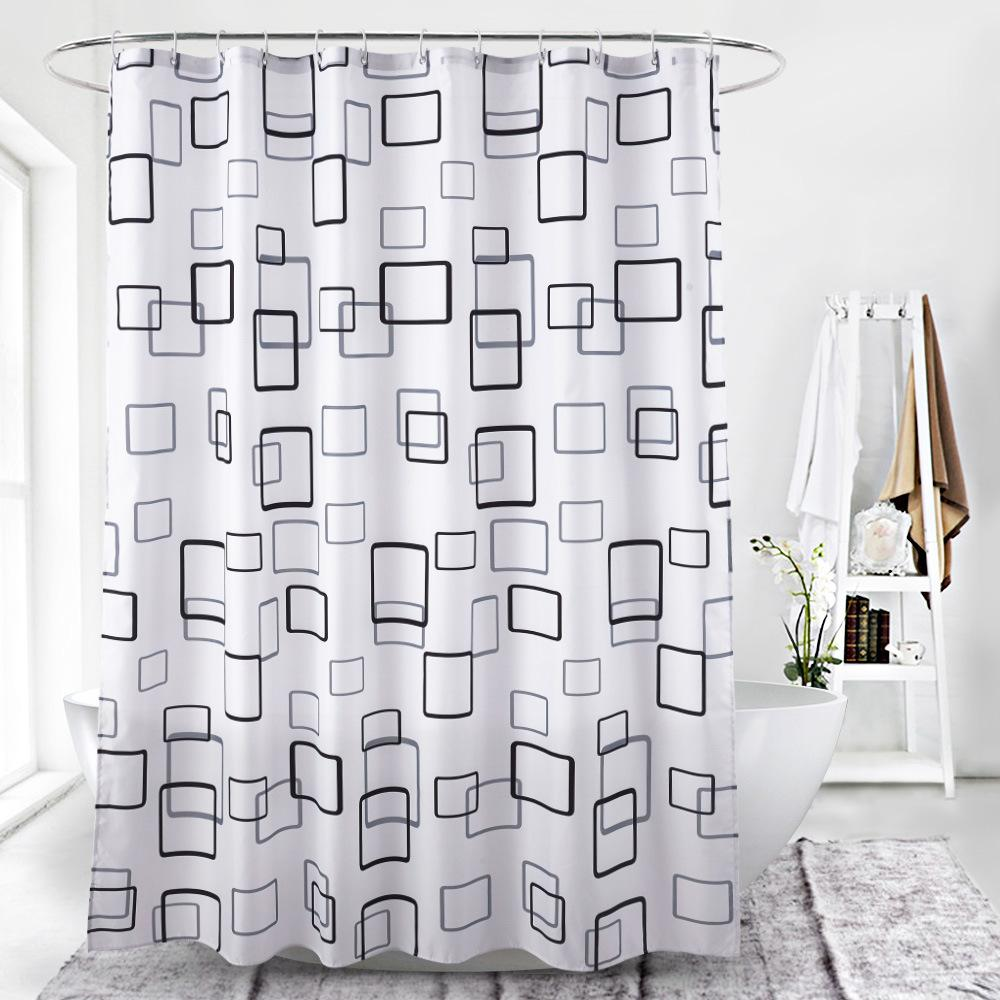 2019 Black And White Lattice Digital Printing Waterproof Thickening Shower Curtains For Bathroom With Plastic Clasp Accessories Bath From