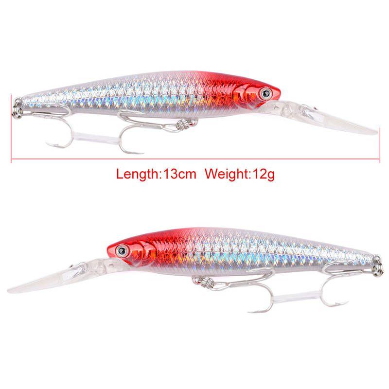 Pesca de agua dulce universal Wobbler Láser cebo 12.5 cm 12.8 g Canalización Natación PERRO CAMINAR Minnow señuelo BKB Gancho