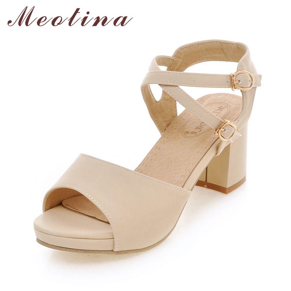 b34e641d6 Compre Meotina Mujer Zapatos Sandalias Plataforma Zapatos De Tirantes De  Tacón Grueso Tacones Altos Sandalias Damas Causal Beige Rosa Tamaño Grande  42 43 A ...