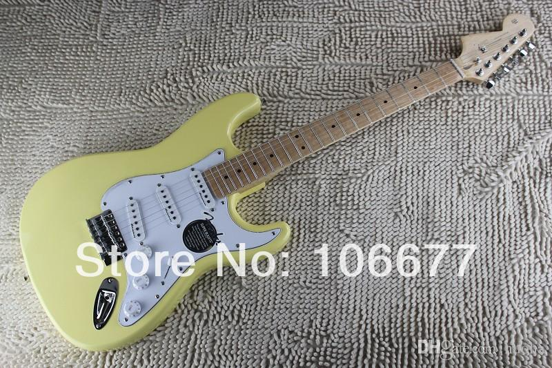 2014 New Arrival Right Handed Body + Left Handed Headstock F ST Cream Yellow Electric Guitar Free Shipping