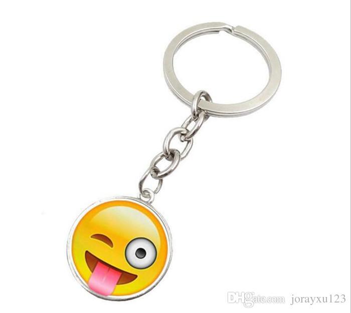 à la mode Smiley Face collier Emoji pendentifs Smile porte-clés Smiley Face porte-clés bijoux Happy Pendan Cadeau J083
