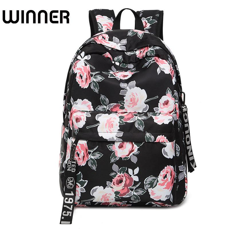 87baf78e79 Fashion Water Resistant Nylon Women Backpack Flower Printing Female School Rucksack  Girls Daily College Laptop Bagpack Y18110201 Backpacks For Men Jansport ...