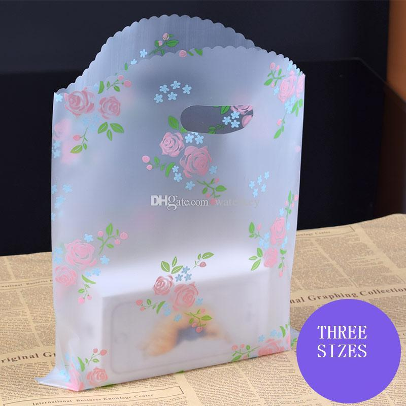 Elegant Plastic bag can be portable Packing bags For gift cosmetic clothes etc. Three sizes Rose pattern