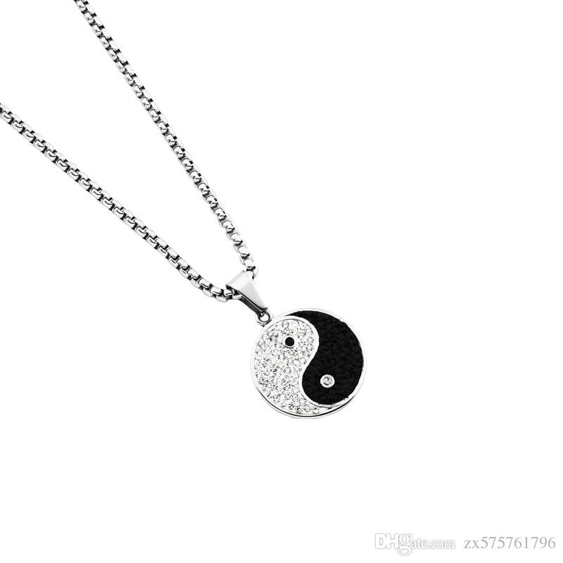 Men charm round pendant necklaces crystal design stainless steel men charm round pendant necklaces crystal design stainless steel high quality best friend jewelry 70cm long chain for jewellery charm necklaces pendant aloadofball Images