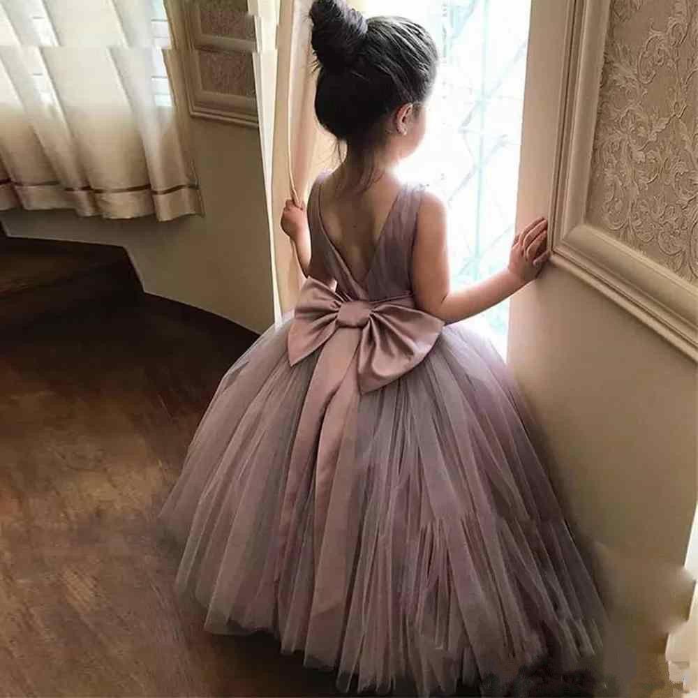 2018 Lindo Sin Mangas Vestido de Bola Apliques de Encaje Vestidos de Niña de Flores Sin Arco Cinta Niñas Pequeñas Concurso Vestido de Tul Primera Comunión