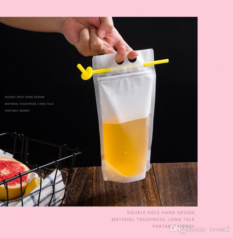 Portable beverage bag fruit juice bags liquid packaging bag self sealing transparent sanding thickening and disposable packing bags A1046