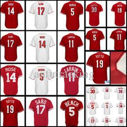 4d306654a Men's #5 Johnny Bench 19 Joey Votto 30 Ken Griffey Jr 14 Pete Rose 11 Barry  Larkin 17 Chris Sabo Baseball Jerseys