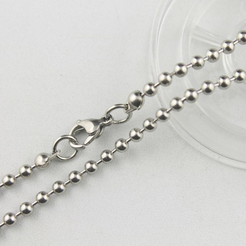 high-quality 3mm stainless steel bead chain with Lobster Clasp necklace ball necklet hot sale 36-81cm 14''-32inch ZX012B