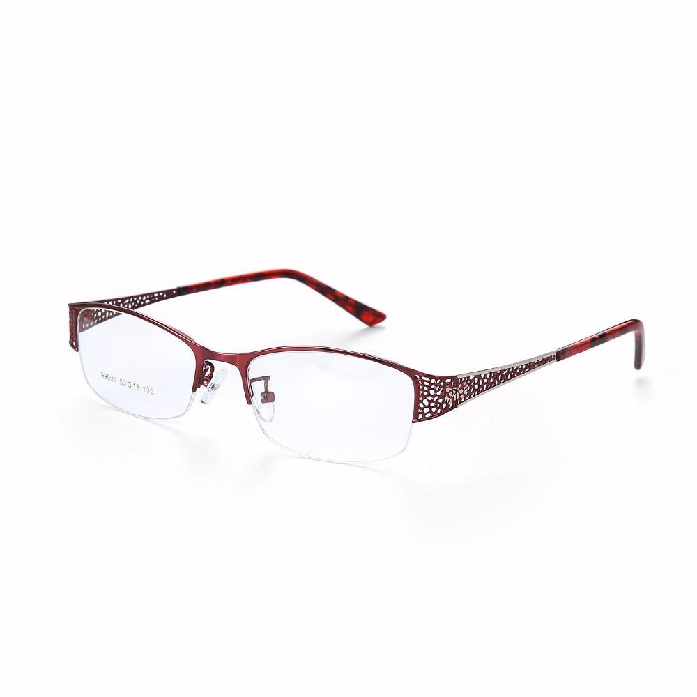 9af07dd83b 2019 Metel Titanium Eyeglasses Half Rim Optical Frame Prescription Women  Spectacle Reading Myopia Flower Eye Glasses Purple 300782 From Jutie