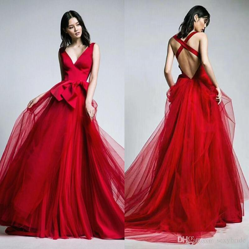 ddbeeb65480 Sexy Red A Line Tulle Prom Dresses Long With Bows Sash V Neck Backless  Women Red Evening Party Dress 2018 Chinese Prom Dresses City Triangles Prom  Dresses ...