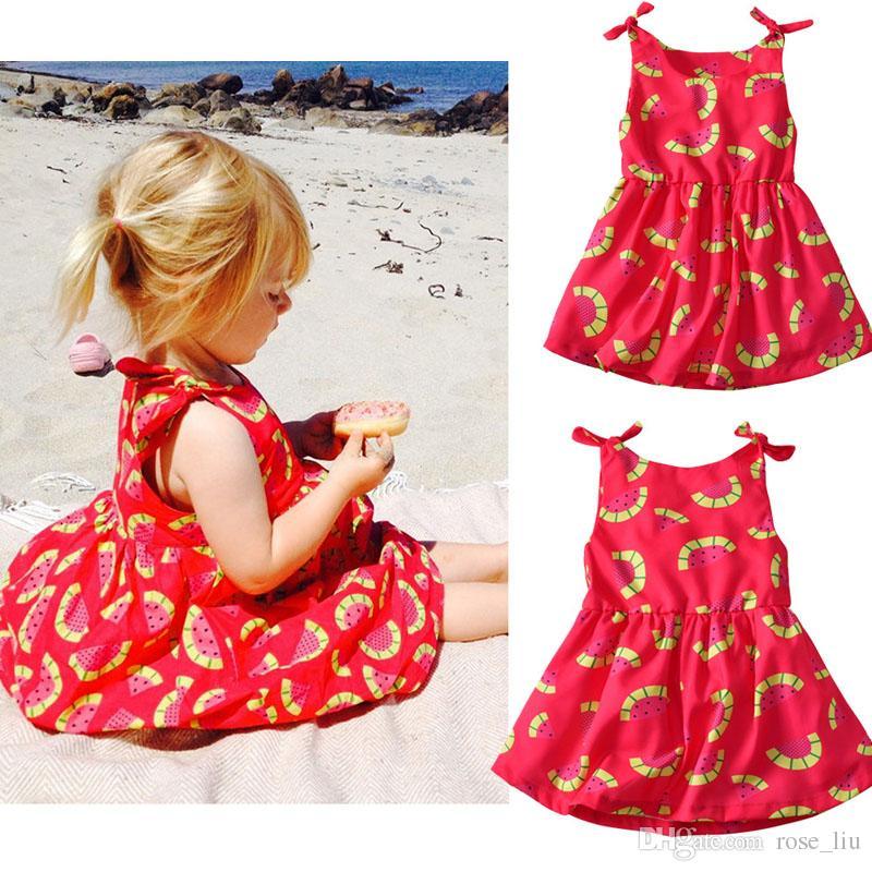 22d9595ddf9f 2019 Baby Girl INS Lovely Bowknot Dress 2018 New Kids Cartoon Watermelon Pattern  Princess Pattern Sling Sleeveless Dresses B From Rose_liu, $5.98 | DHgate.