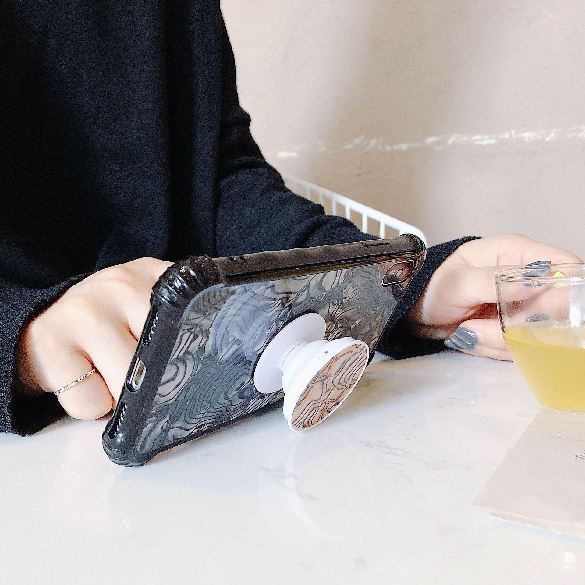 الجمال صدف نمط حالة الهاتف مسنده وسادة هوائية قابل للسحب قوس محارة شل الملمس الغطاء الخلفي درع آيفون X 10 4.7 5.5