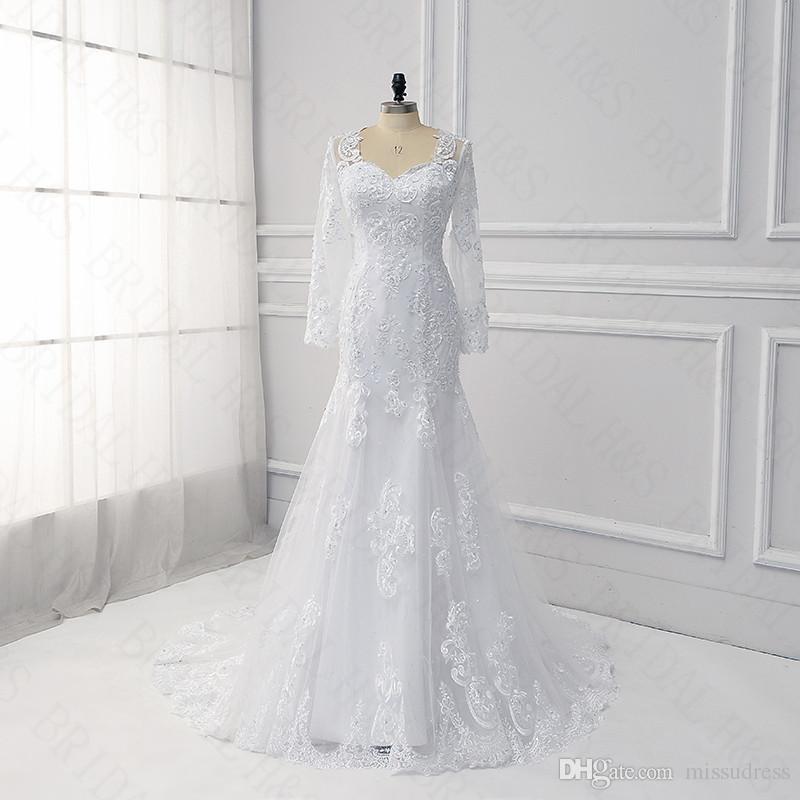 Lace Long Sleeve Wedding Dresses Mermaid Unique Korean