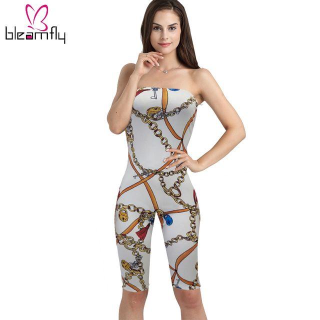 d1699cbcf8 Womens Sexy Bodysuits Summer Overalls Black White Chain Print Slash ...