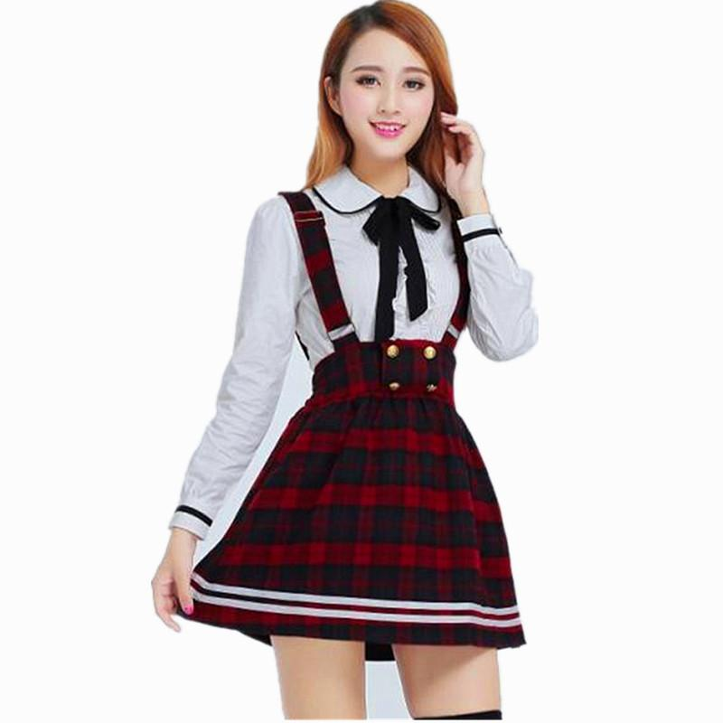 d577cb0785 Compre Uniforme Escolar Coreano Girls Navy Sailor Suit For Women Ropa De Uniforme  Escolar Japonés Camisa Blanca De Algodón + Falda A Cuadros Correas A ...