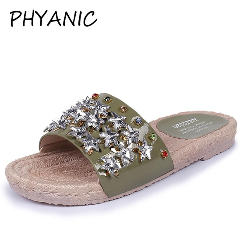 e91dd64db PHYANIC Silver Shiny Rhinestone Slippers Women Slides Summer Beach Fashion  2018 Rivets Casual Flat Ladies Shoes Woman PHY4155 White Shoes Womens  Sandals ...