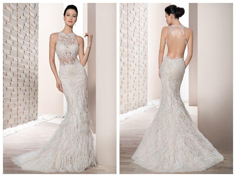 2889614166c9 2018 Wedding Dresses Robe De Mariée Demetrios 711 Ivory Ostrich Feathers  Fur Applique Mermaid Crew Wedding Dress Bridal Gowns Custom Made Beautiful  Gowns ...