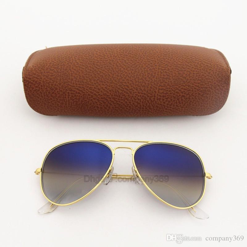 5d2f4a80ff4 High Quality Mens Womens Gradient Pilot Sunglasses Eyewear Designer Vassl  Sun Glasses Gold Frame Blue Glass Lenses With Brown Cases Sunglasses At  Night ...