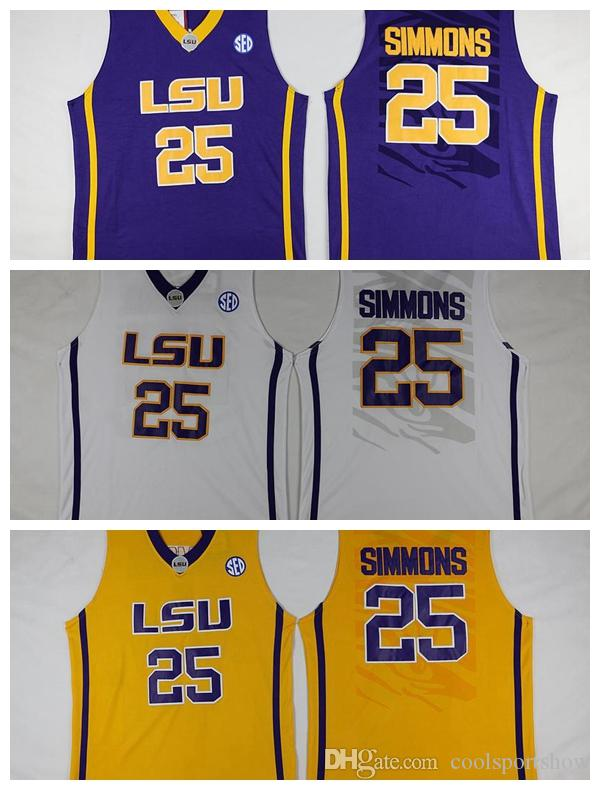 01e860e570e ... discount mens lsu tigers 25 ben simmons jersey yellow purple white  college ben simmons stitched bask