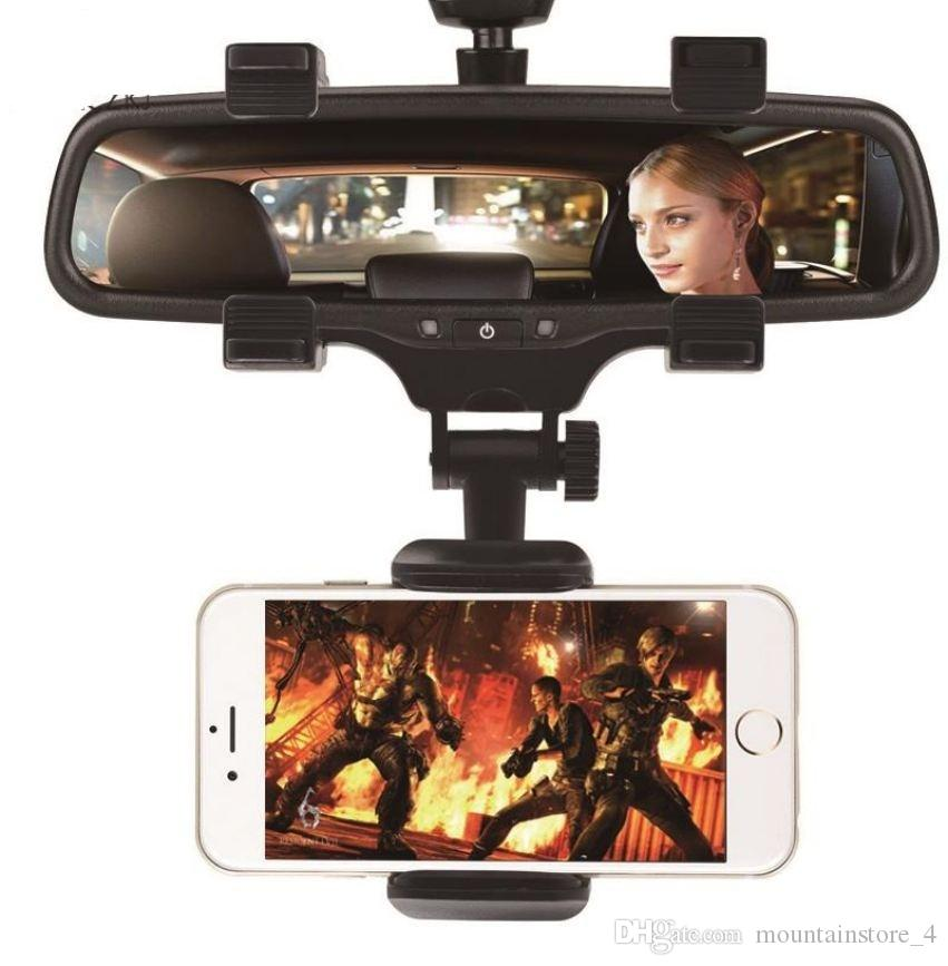 Car Phone Holder Car Rearview Mirror Mount Phone Holder 360 Degrees For iPhone Samsung Huawei GPS Smartphone Stand Universal (Retail)