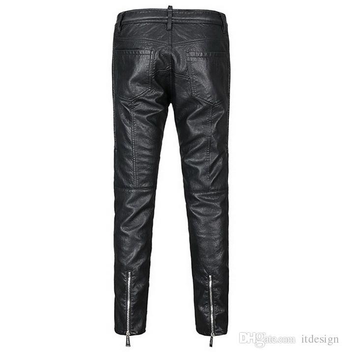 2018 YENI Hip Hop Erkek Deri Biker Pantolon Sahte Malzeme Motosiklet Sıska Fit Gece Kulübü Açık Pantolon