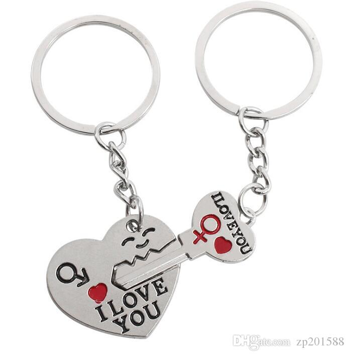 Vintage Silver I LOVE YOU Heart Couple Men Women Symbol Keychain For Keys Car Bag Key Ring Handbag Gift Jewelry Key Chains Accessories NEW