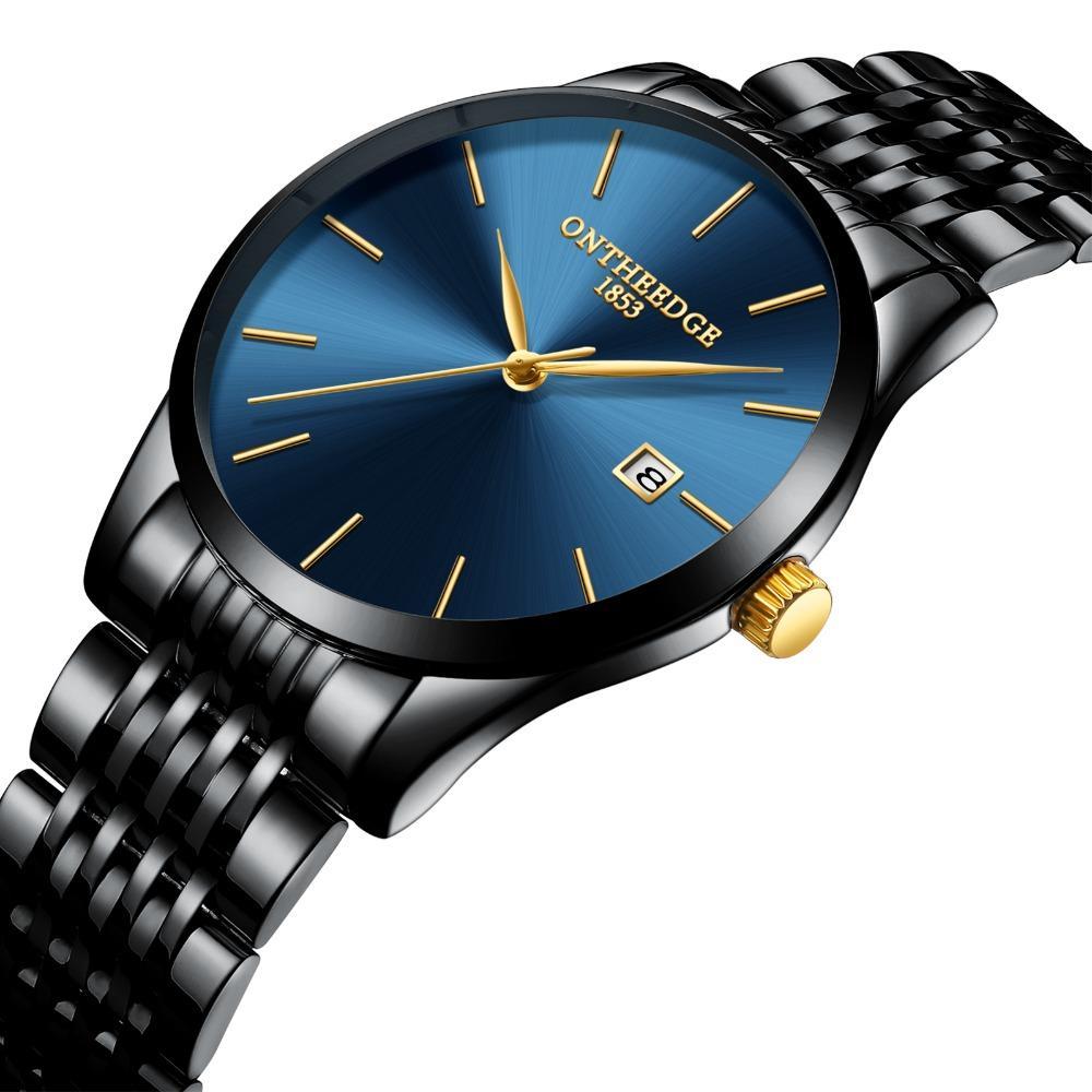Compre Relojes De Pulsera Para Hombre De Lujo Marca Negro Azul Oro Hombre  Acero Inoxidable Relojes Ultra Thin Calendario Impermeable Reloj Original  De Los ... a7a3769a59d9
