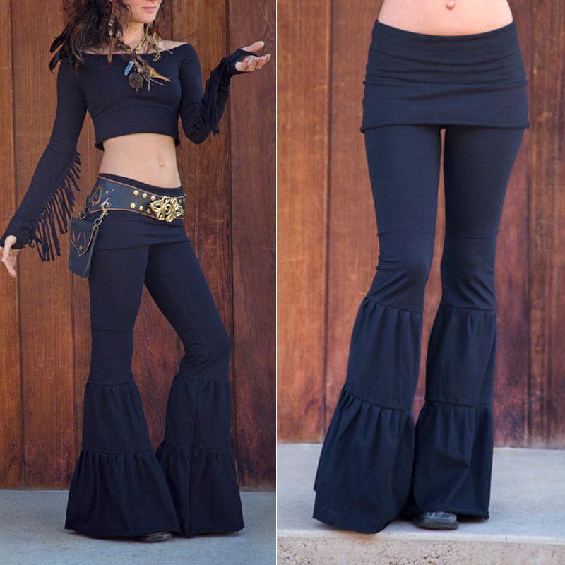 d9639d1601 Compre Pantalones Elásticos Medievales Para Mujer Pierna Ancha Pantalones  Acampanados Cómodos Elásticos Boho Pantalones Largos Para Mujeres A  19.85  Del ...