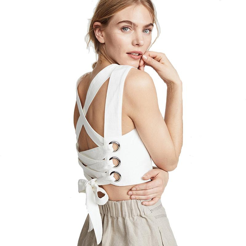 0ffb0a6ade3 2019 HDY Women Summer Casual Solid White Criss Cross Tanks Back Bandage  Strap Corp Tops Tank Shirt Cami Bandage Tops Women Sexy From Cety, $33.35    DHgate.