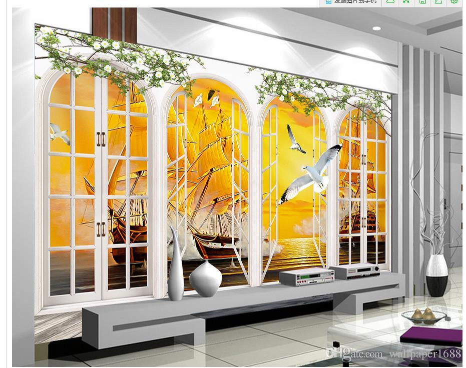 European Style Window Outside The Sea With A Smooth Background Wall Painting 3d Murals Wallpaper For Living Room Photos Wallpapers From