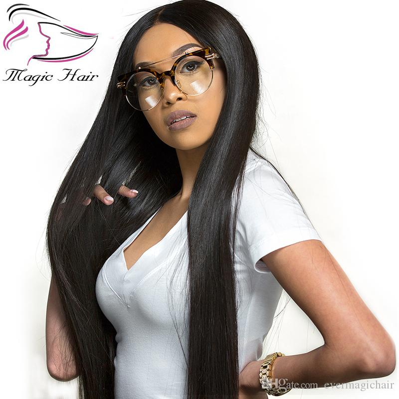 Evermagic Brazilian hair non-remy 13x6 deep parting lace front human hair wigs straight pre-plucked with baby hair glueless lace front wig