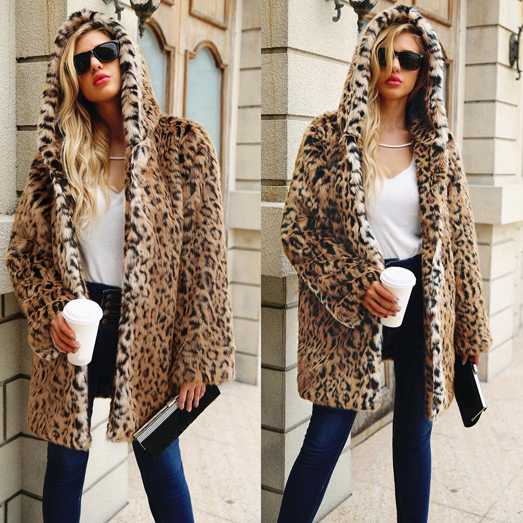 cheap for discount 2e1be 1a55c Winter-Frauen-Leopard-Druck-Pelz-Jacken-Mantel-Mantel 2018 Damen-starke  warme mit Kapuze lange Mäntel weibliche Pelz-Jacke Outwear