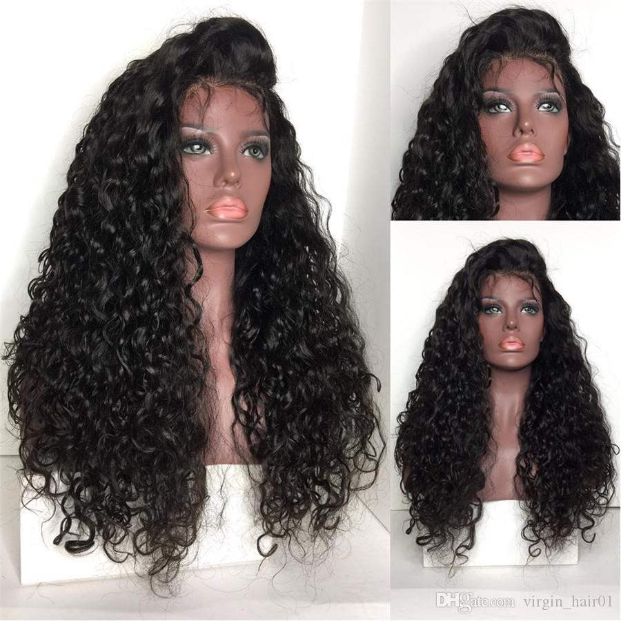 Вьющиеся индийские волосы Реми глубокая часть предварительно сорвал кружева передние парики человеческих волос естественный цвет для черных женщин 130% плотность полный парик кружева