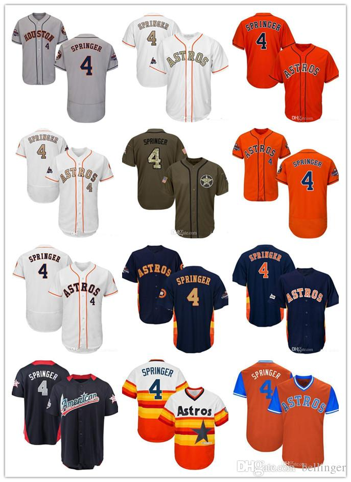 new product ca054 0e349 Men Women Youth Astros Baseball Jersey 4 Springer White Gray Grey Navy Blue  Orange Gold Green Salute to Service Players Weekend All Star