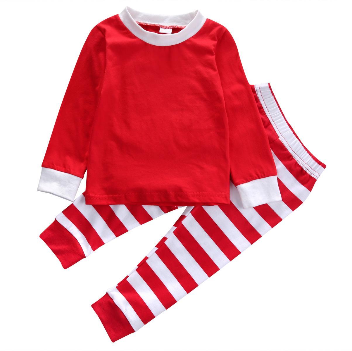 deb6dcf54544 Christmas Pajama Sets Toddler Kids Baby Boy Girls Striped Outfits ...
